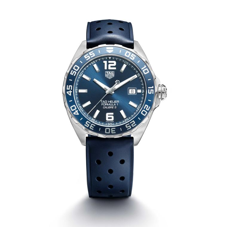 TAG Heuer Formula 1 Bucherer Blue Edition watch on rubber strap white background Price £1650