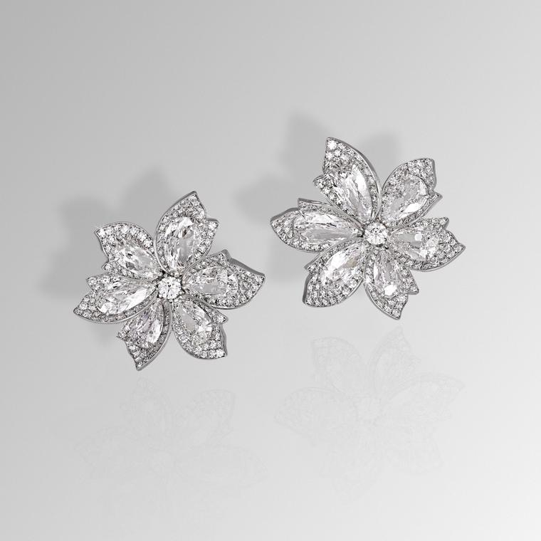 David Morris diamond palm earrings