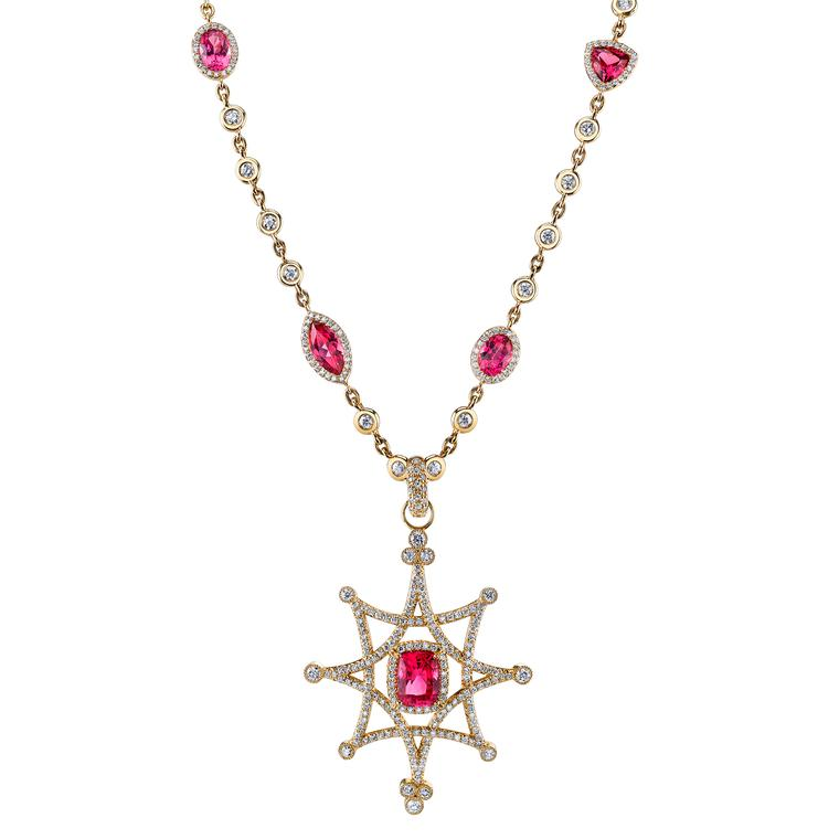 Erica Courtney spinel and diamond pendant