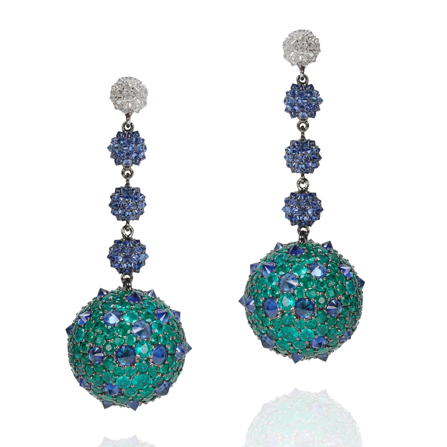 Nam Cho emerald and sapphire earrings