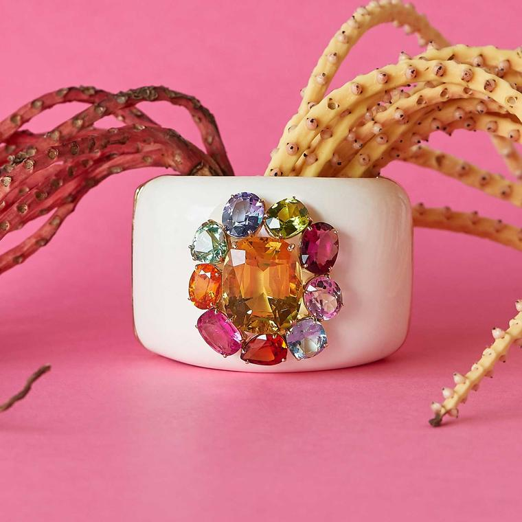 Margot McKinney mammoth cuff set with a yellow beryl and mult-coloured gemstones