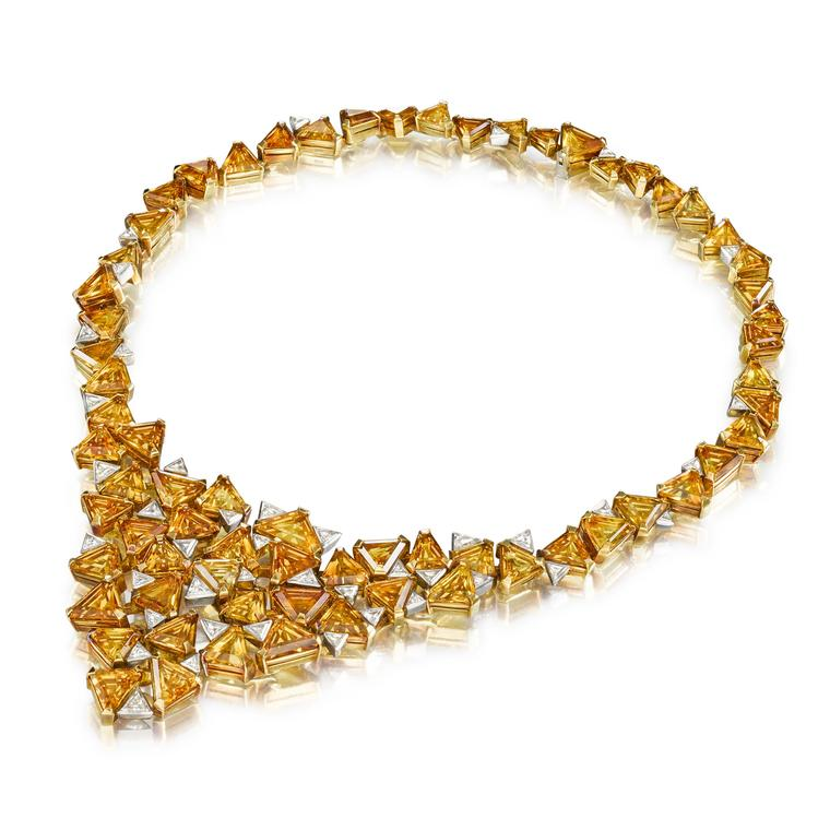 Andrew Grima gold and diamond bib necklace
