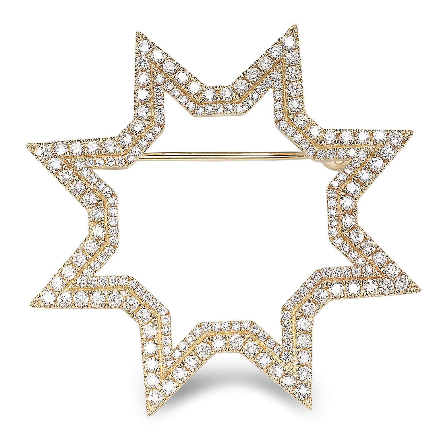 Octium Sun collection yellow gold brooch with diamonds