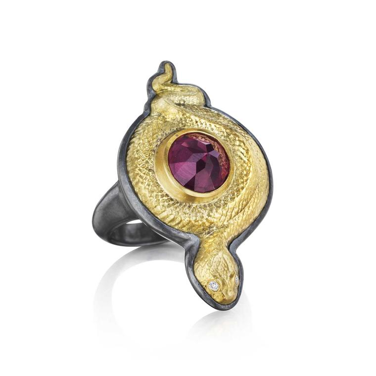 Anthony Lent Coiled Serpent rhodolite garnet ring