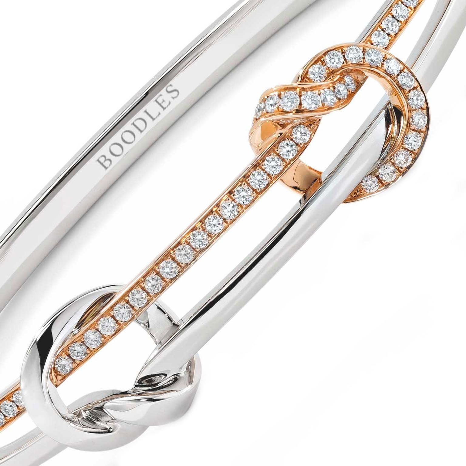 Boodles Knot bracelet in white and rose gold with diamonds