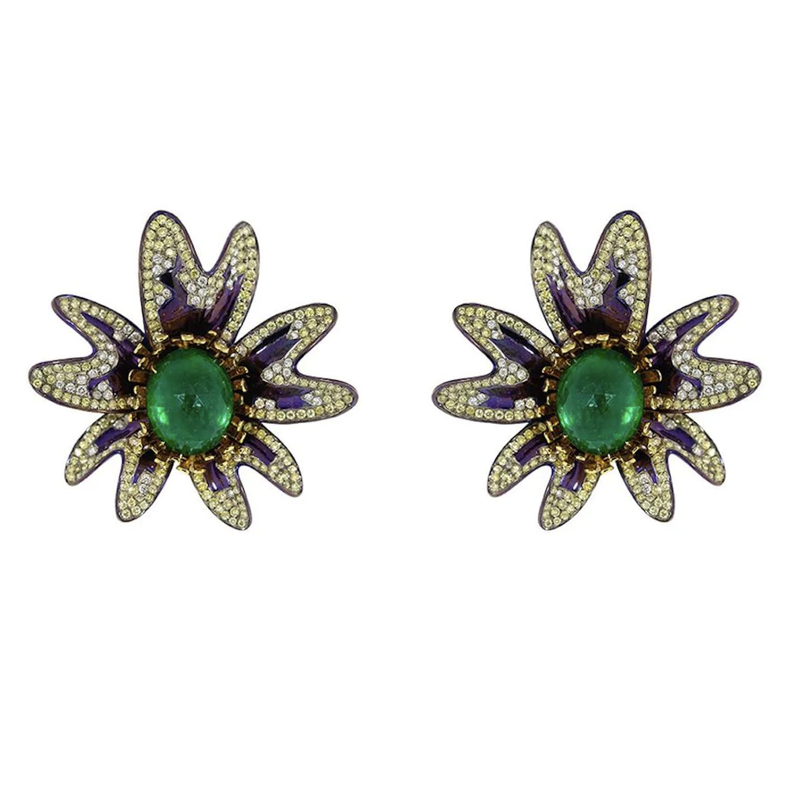 Flower earrings by Saboo Fine Jewels