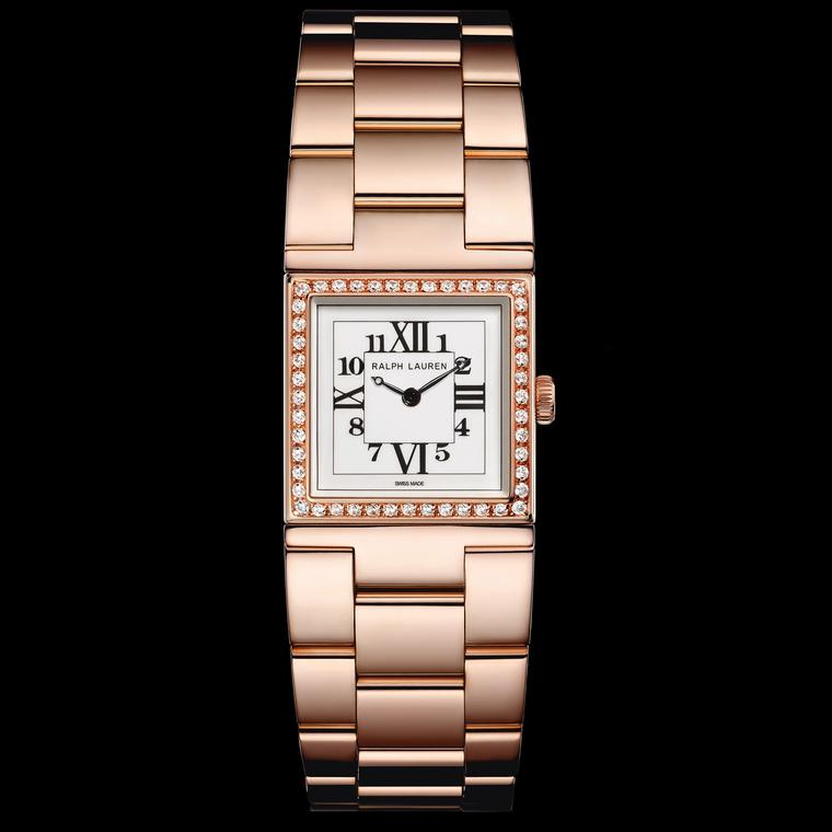 Ralph Lauren Petite Rose Gold 867 watch with diamonds