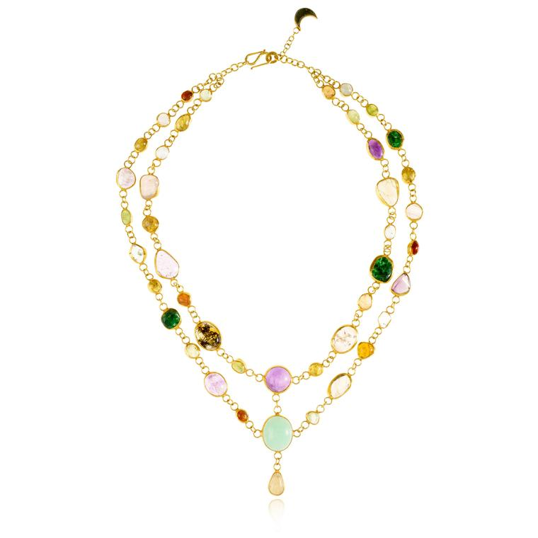 Pippa Small gold-plated silver and coloured gemstone necklace