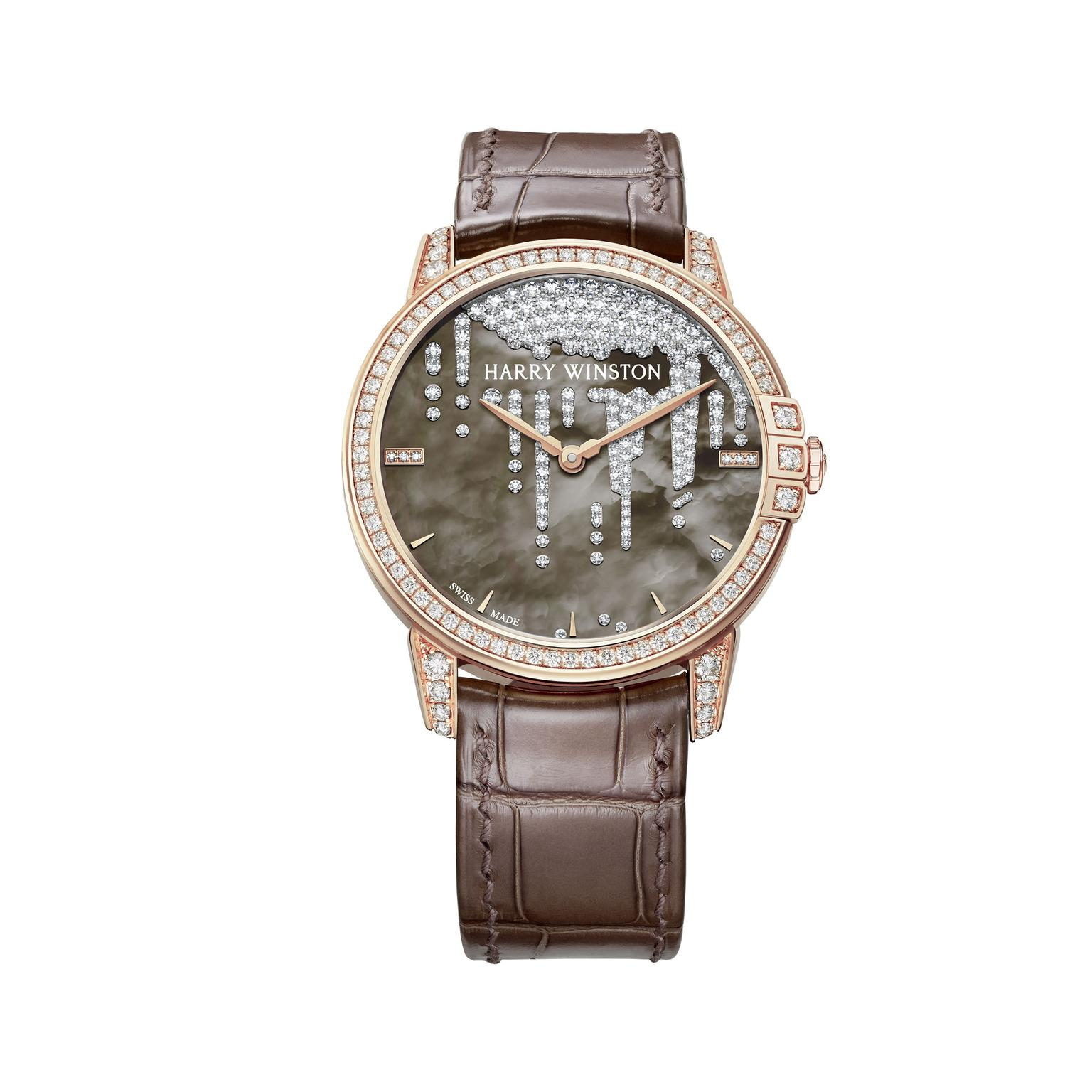 Harry Winston Midnight Diamond Stalactite rose gold pearl watch