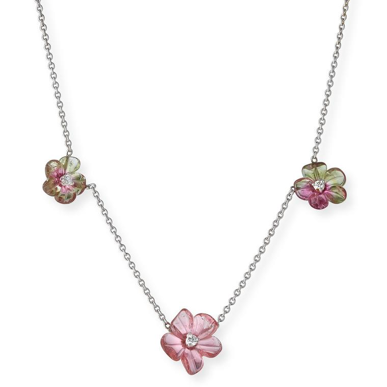 Rina Limor carved watermelon tourmaline flower necklace
