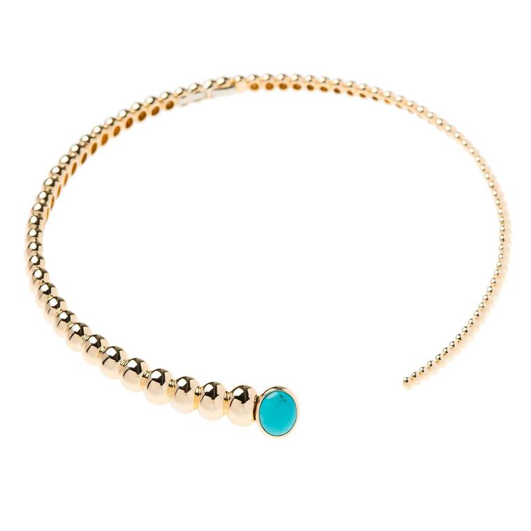 Nikos Koulis Spectrum choker in yellow gold and turquoise