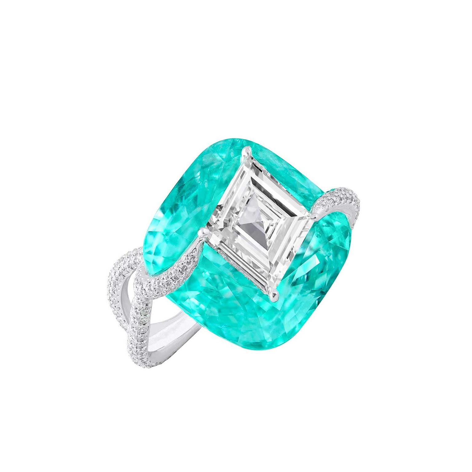 "Boghossian lozenge-shaped diamond and Paraiba tourmaline ""Kissing"" ring"