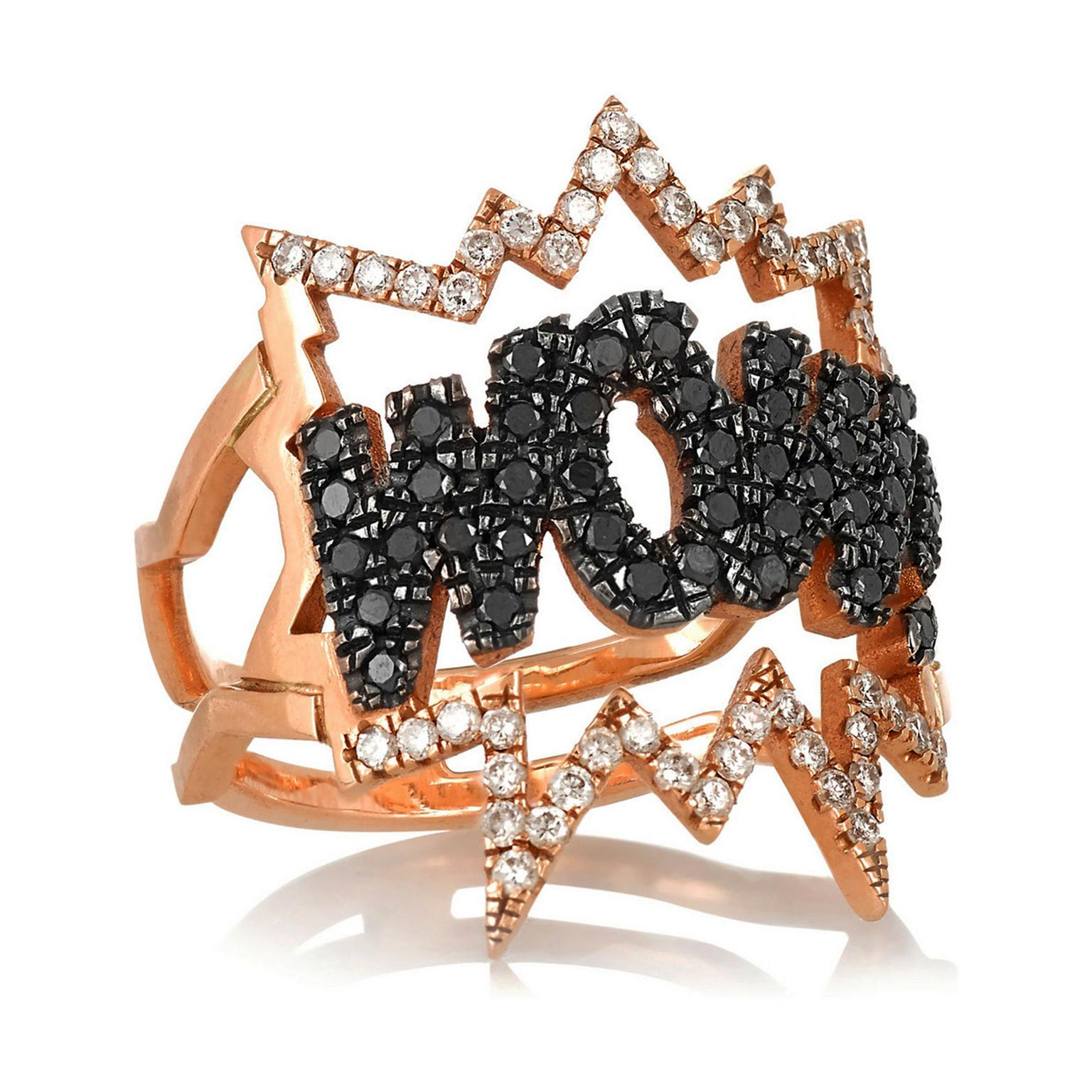 Diane Kordas diamond and gold WOW ring