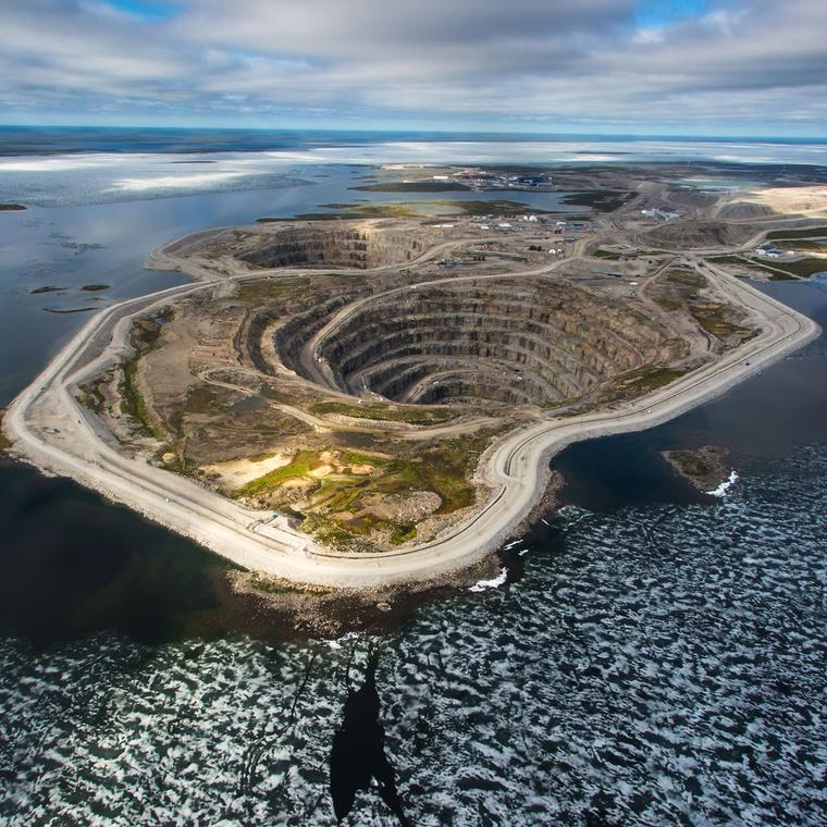Aerial view of Diavik diamond mine in Canada