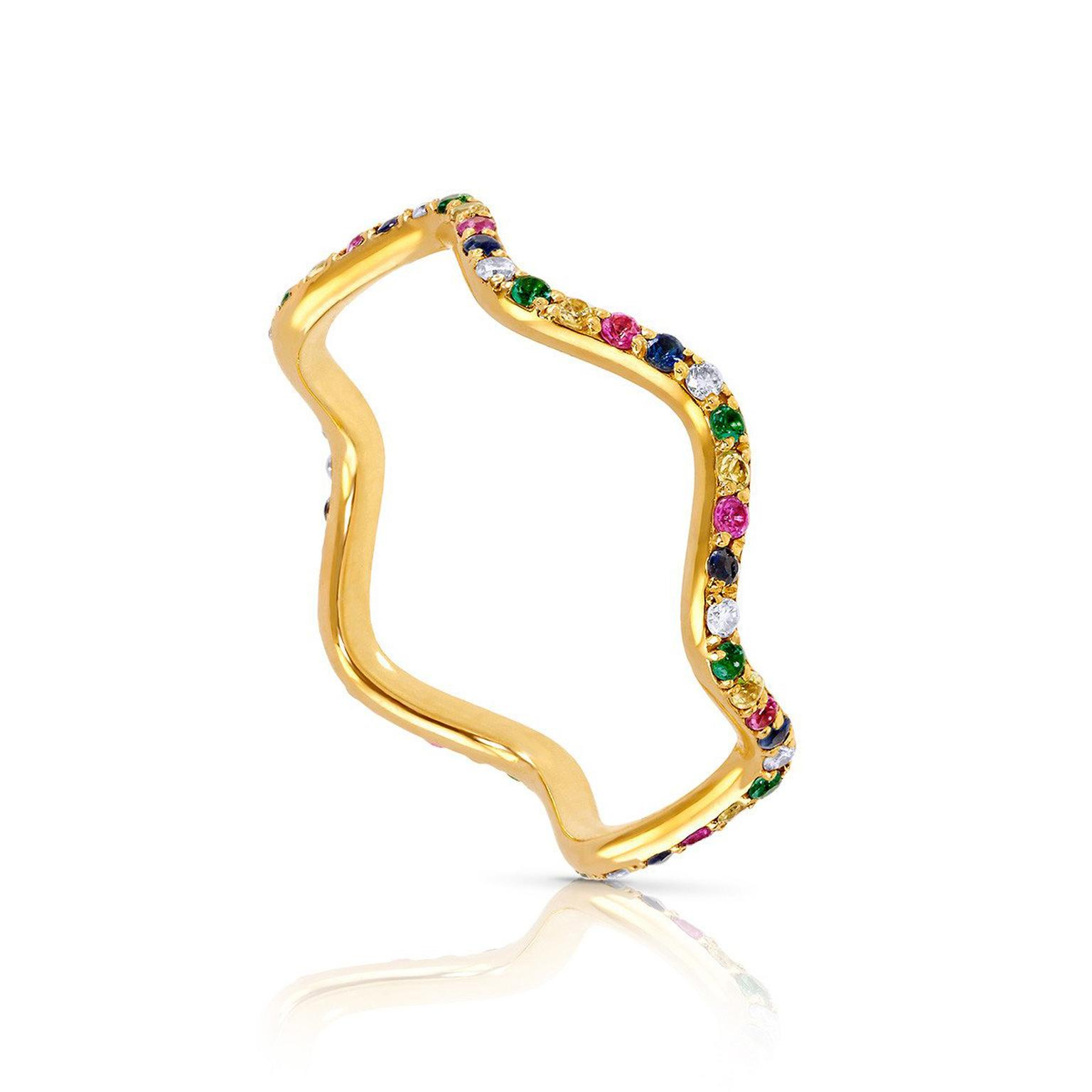 Sabine Getty Baby Memphis Wave band with multi-coloured gemstones
