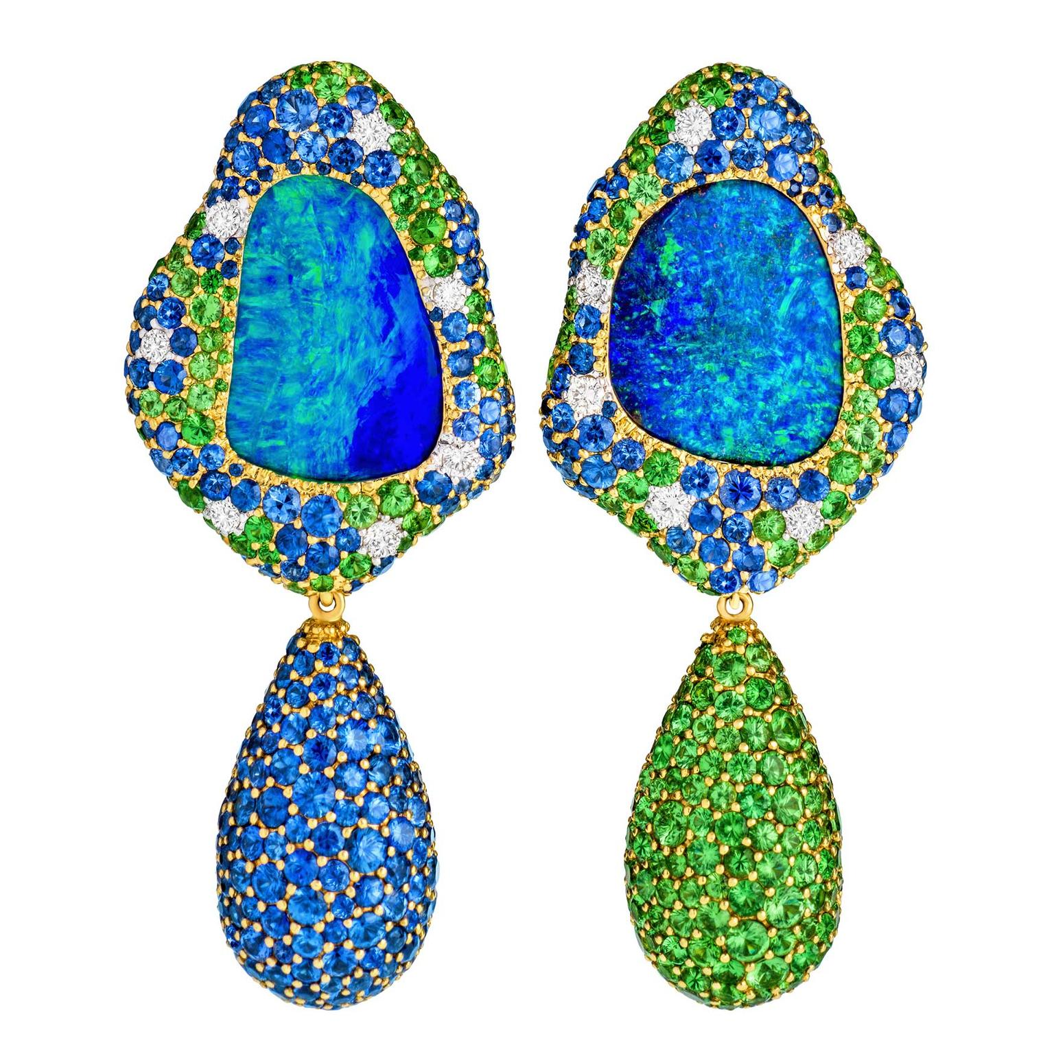 Margot McKinney Viridian Australian Lightning Ridge opal earrings with tsavorites and sapphires