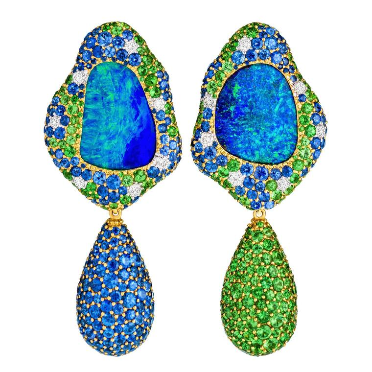 Viridian Australian Lightning Ridge opal earrings