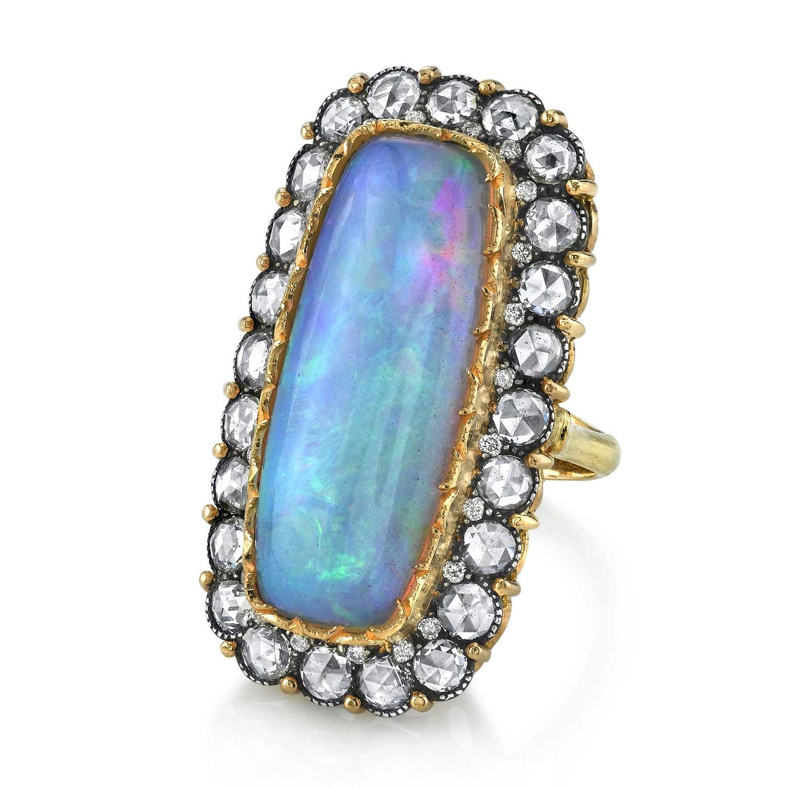 Arman Sarkisyan rose-cut diamond and opal ring