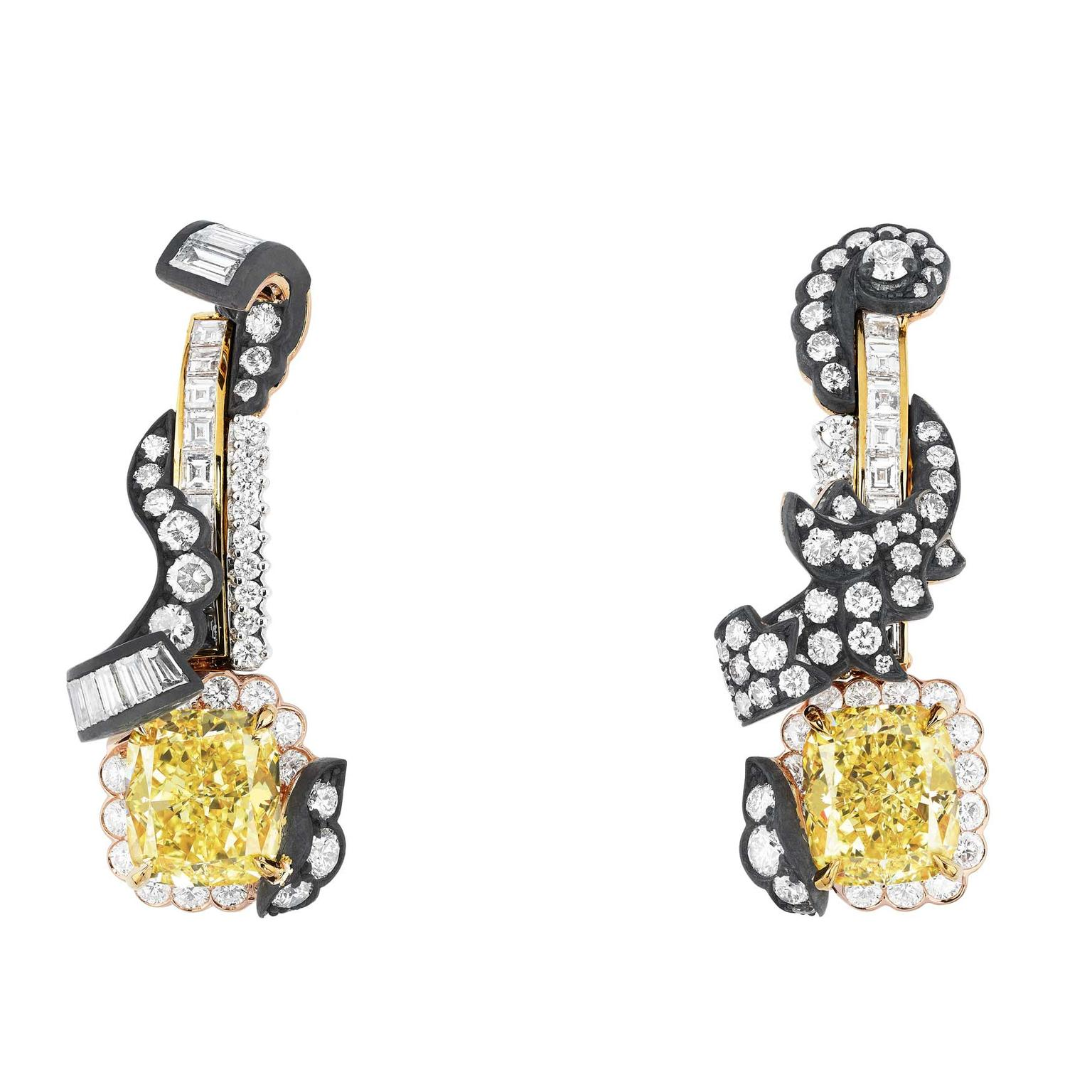 Dior à Versailles Boiserie Diamant Jaune white and yellow diamond earrings