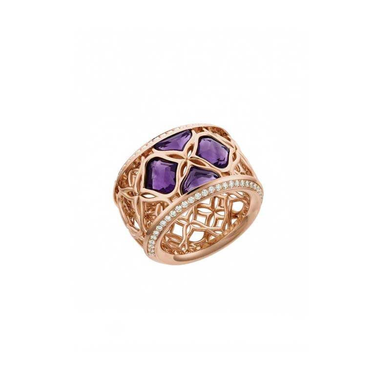 Chopard Imperiale lace ring in 18ct rose gold with amethyst and diamonds