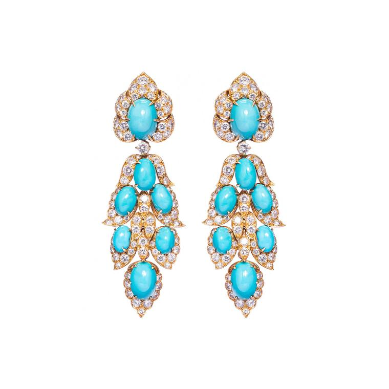 Epoque Fine Jewels turquoise and diamond pendant earrings