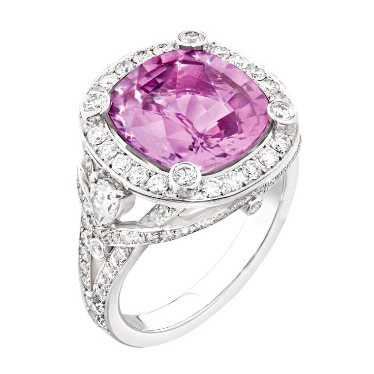 Fabergé pink sapphire cushion-cut engagement ring