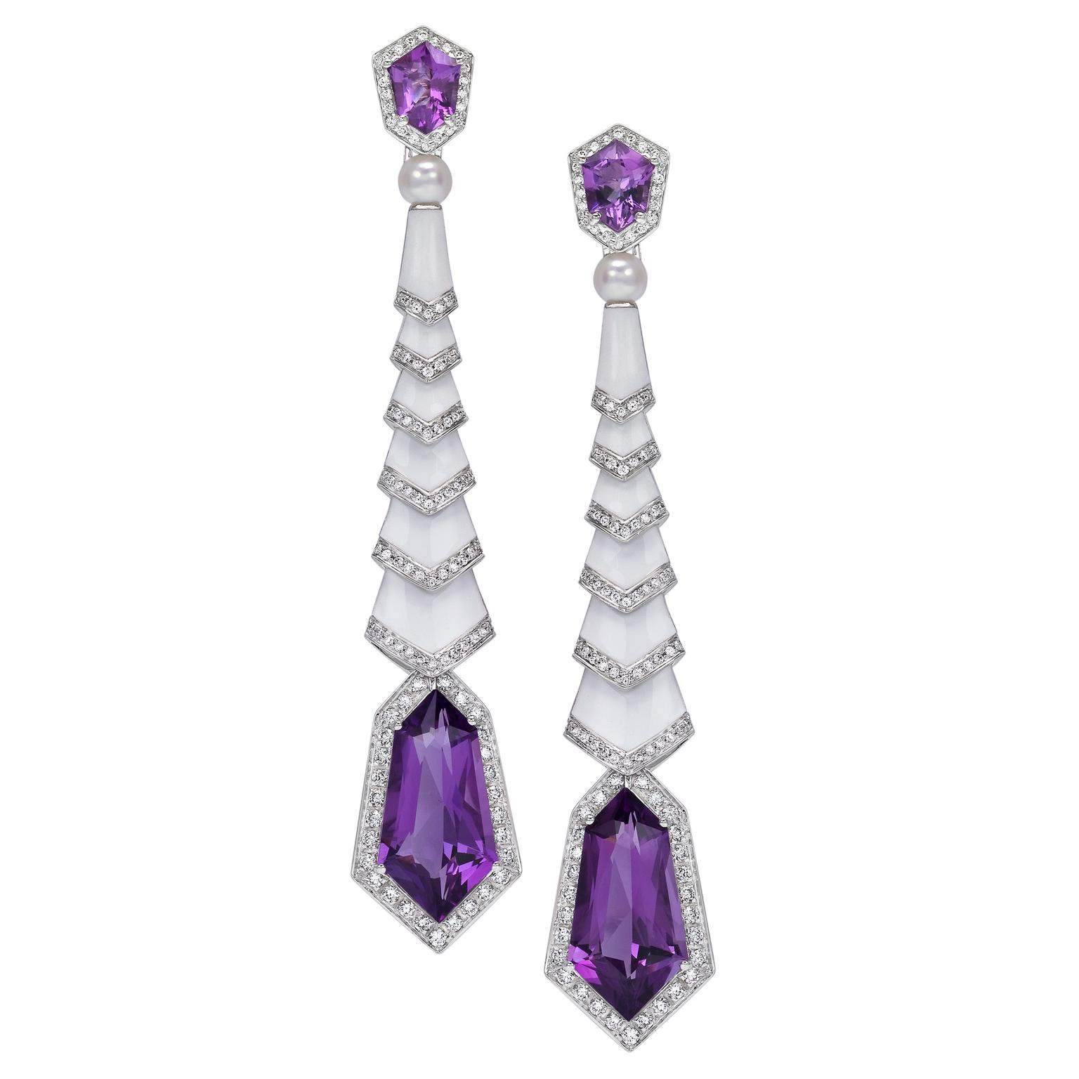 Avakian Gatsby enamel and amethyst earrings