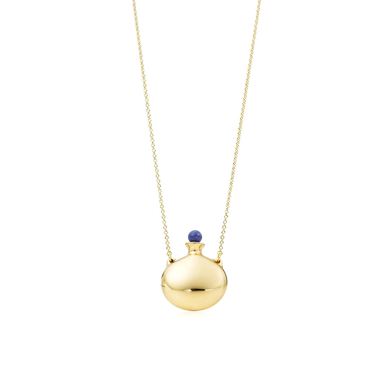 Elsa Peretti yellow gold Bottle pendant with lapis lazuli stopper