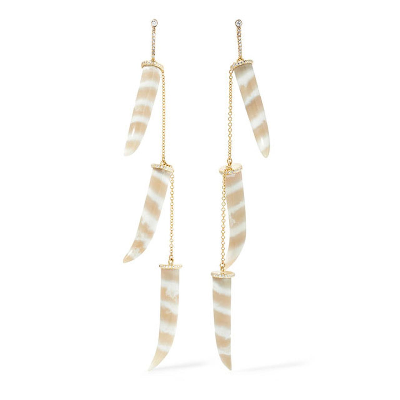 Kimberley McDonald chalcedony and diamond tusk earrings