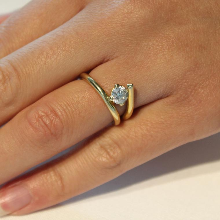 Twisted Diamond Engagement Ring. Petite Hands?