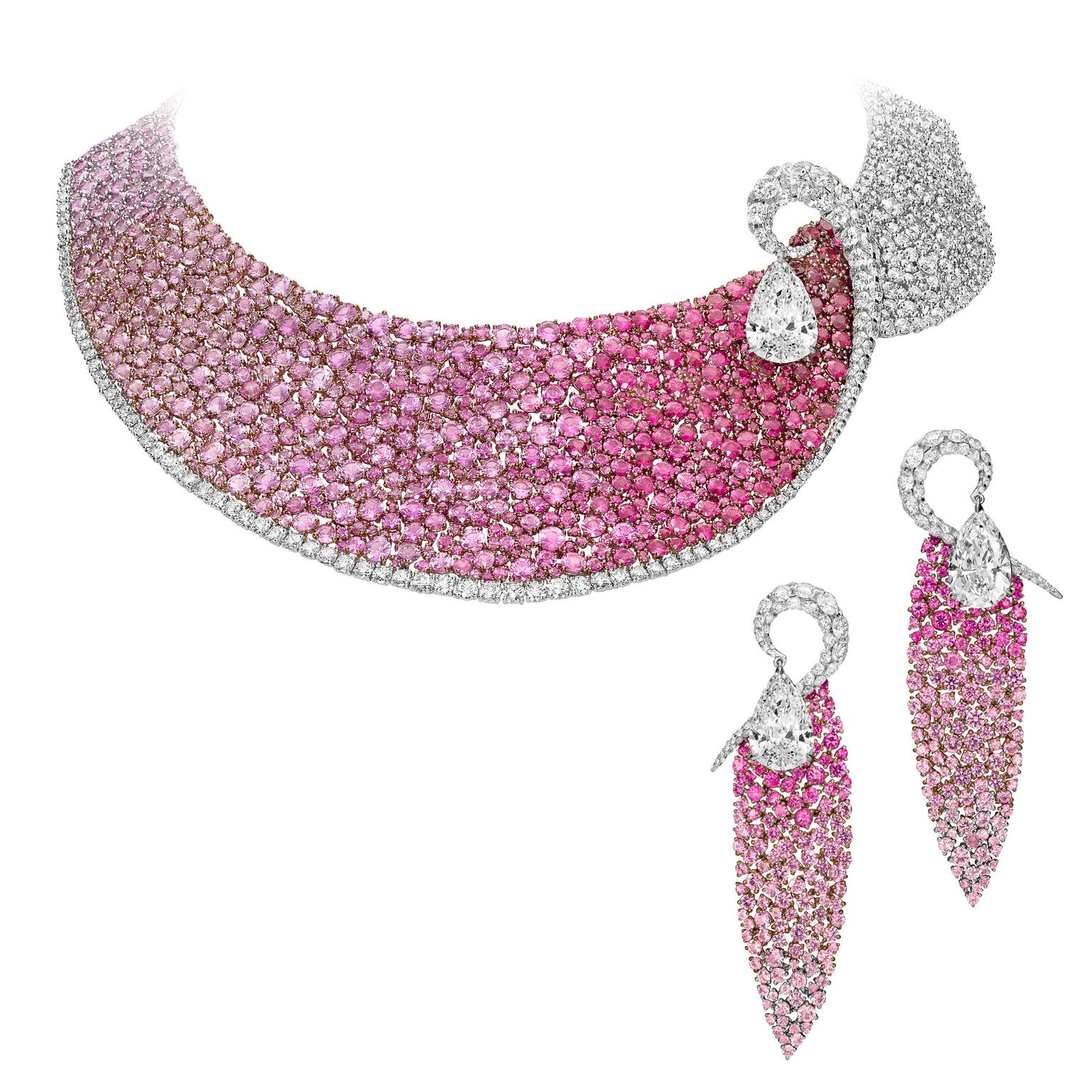 Boghossian Les Merveilles ruby, pink sapphire and diamond necklace and matching earrings