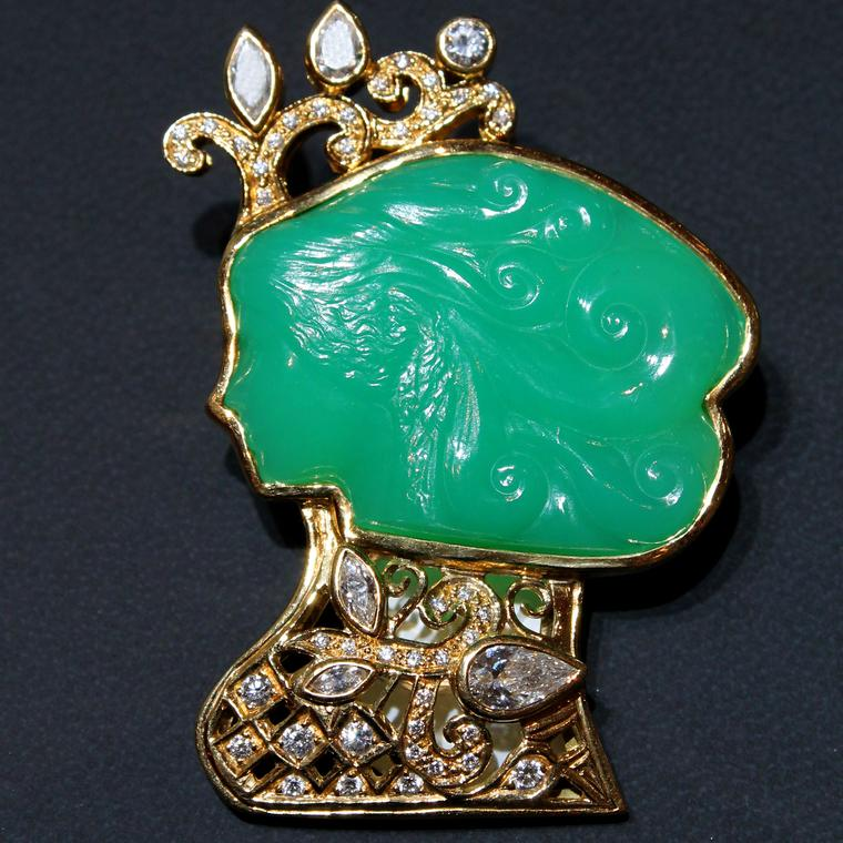 Paula Crevoshay carved chrysoprase brooch as seen at Las Vegas Couture 2017