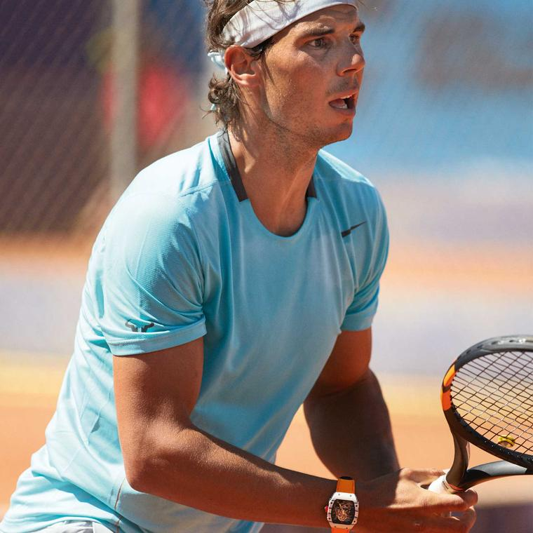 Nadal on court wearing Richard Mille watch