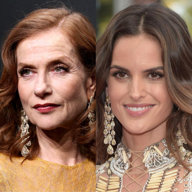 Model Isabelle Huppert and actress Izabel Goulart wear the same Chopard earrings on the Cannes Film Festival red carpet