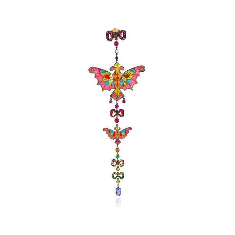 Lydia Courteille Kite collection  single earring in gold with coloured gemstones