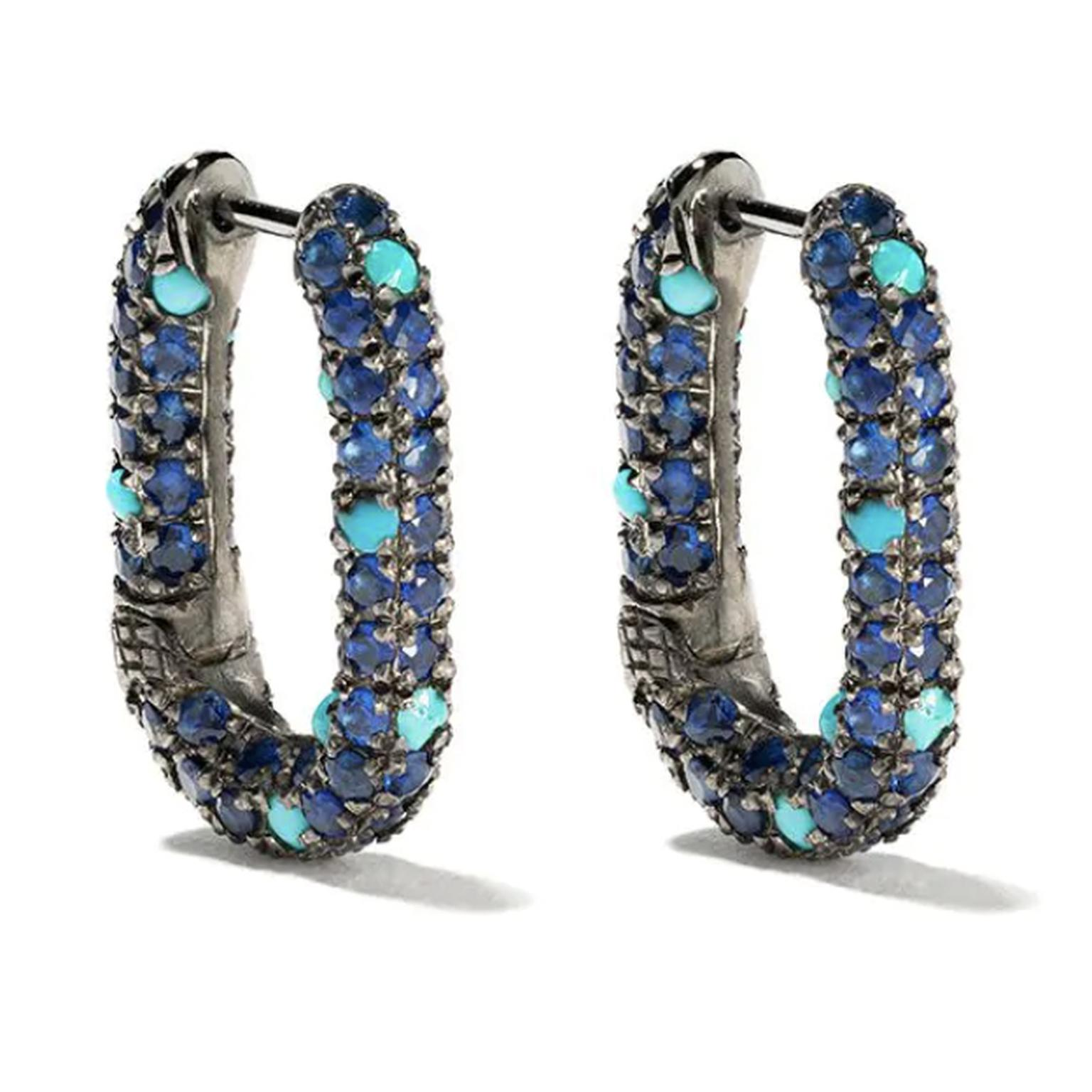 Turquoise and sapphire earrings by Selim Mouzannar