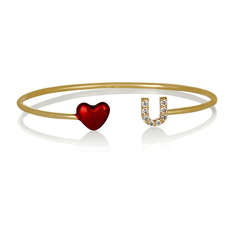 Alison Lou yellow gold, red enamel and diamond Heart cuff