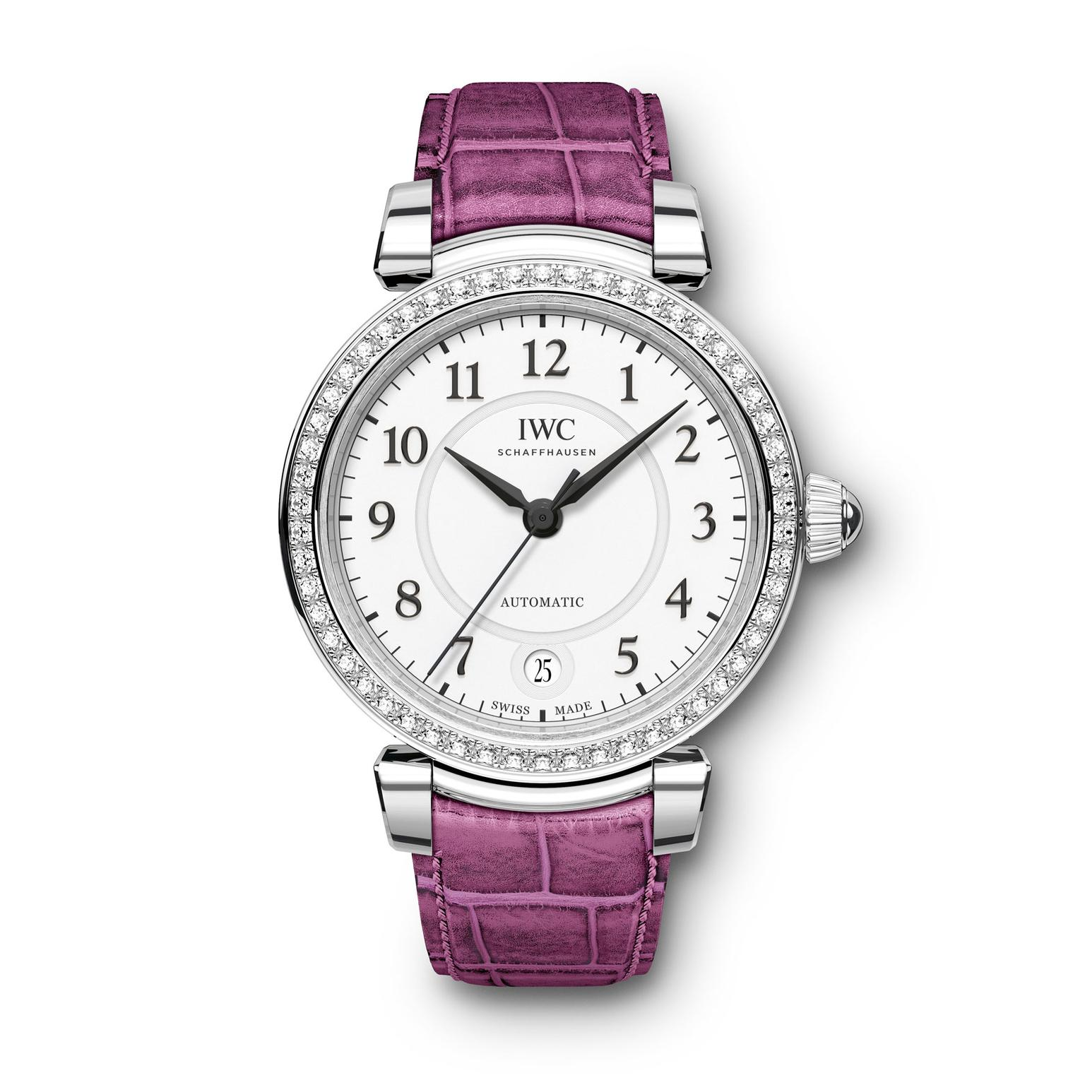 IWC Da Vinci Automatic 36mm steel and diamond watch for women with pink strap