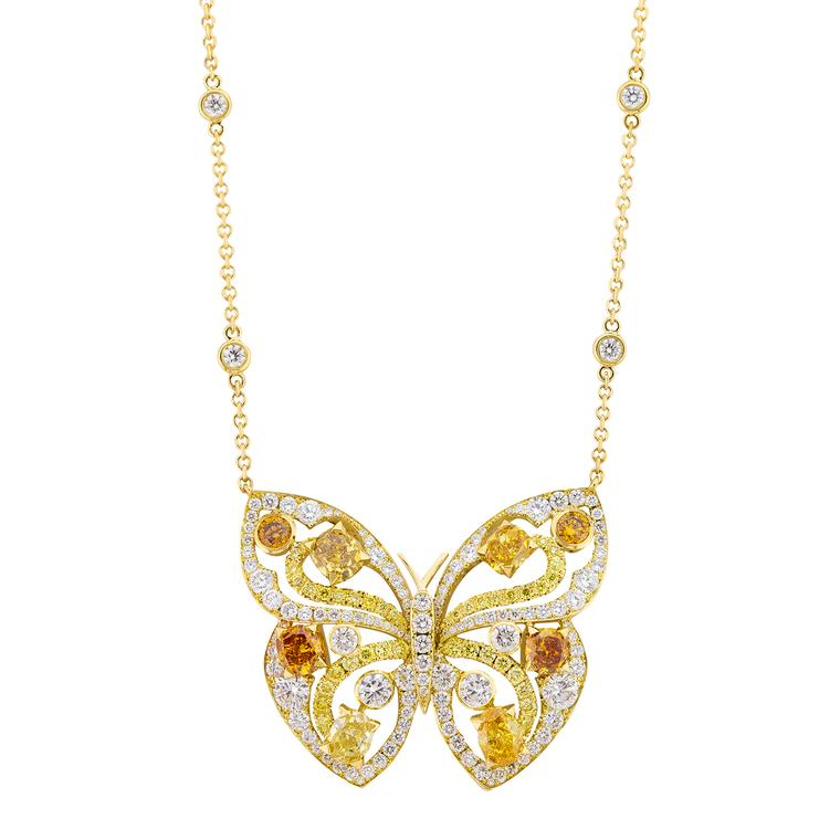 Boodles Papillon butterfly coloured diamond pendant