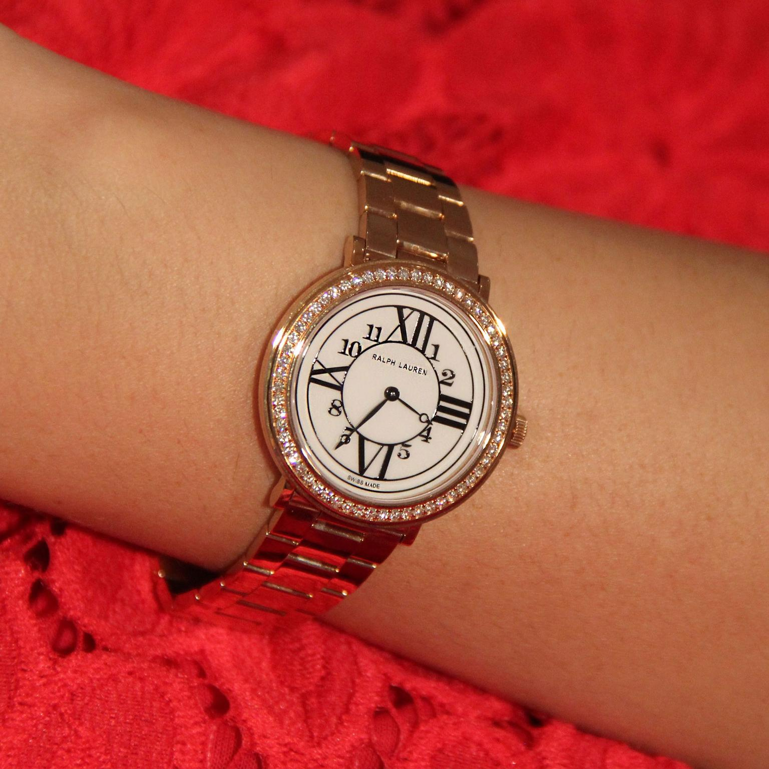 Ralph Lauren RL888 rose gold watch with diamonds