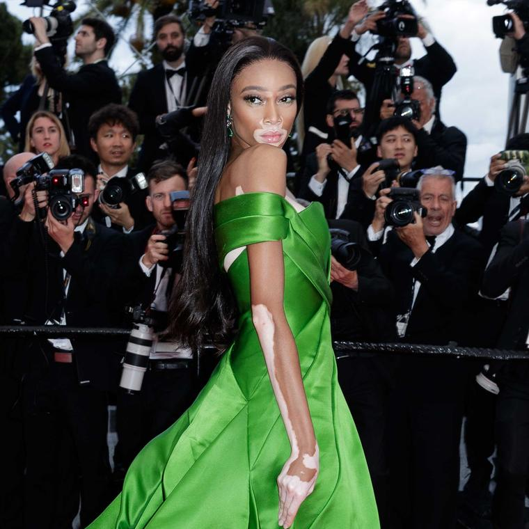 Winnie Harlow in De Grisogono jewels Cannes Red Carpet 2018