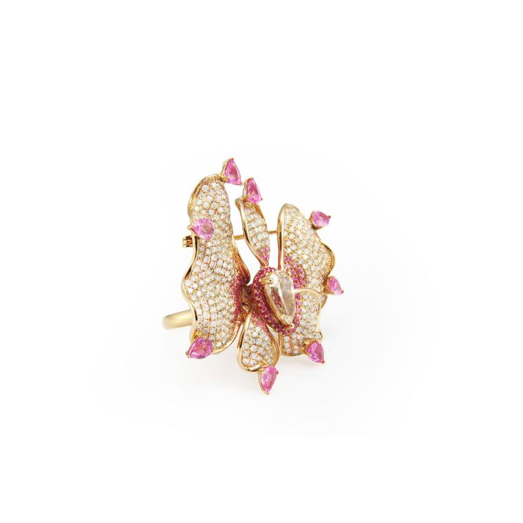 Fei Liu jewellery Orchid Flower ring brooch side