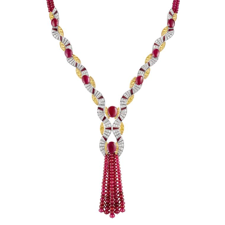 Chaumet Terres d'Or ruby and yellow sapphire necklace