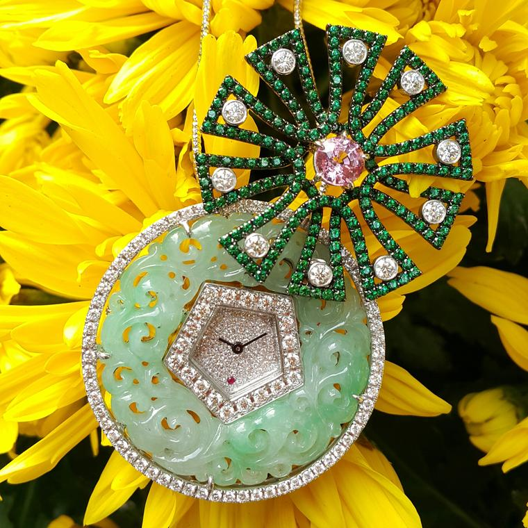 Anita So The Secret jadeite brooch watch