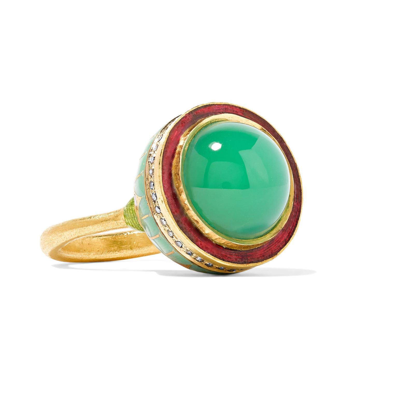 Alice Cicolini chrysoprase and enamel ring