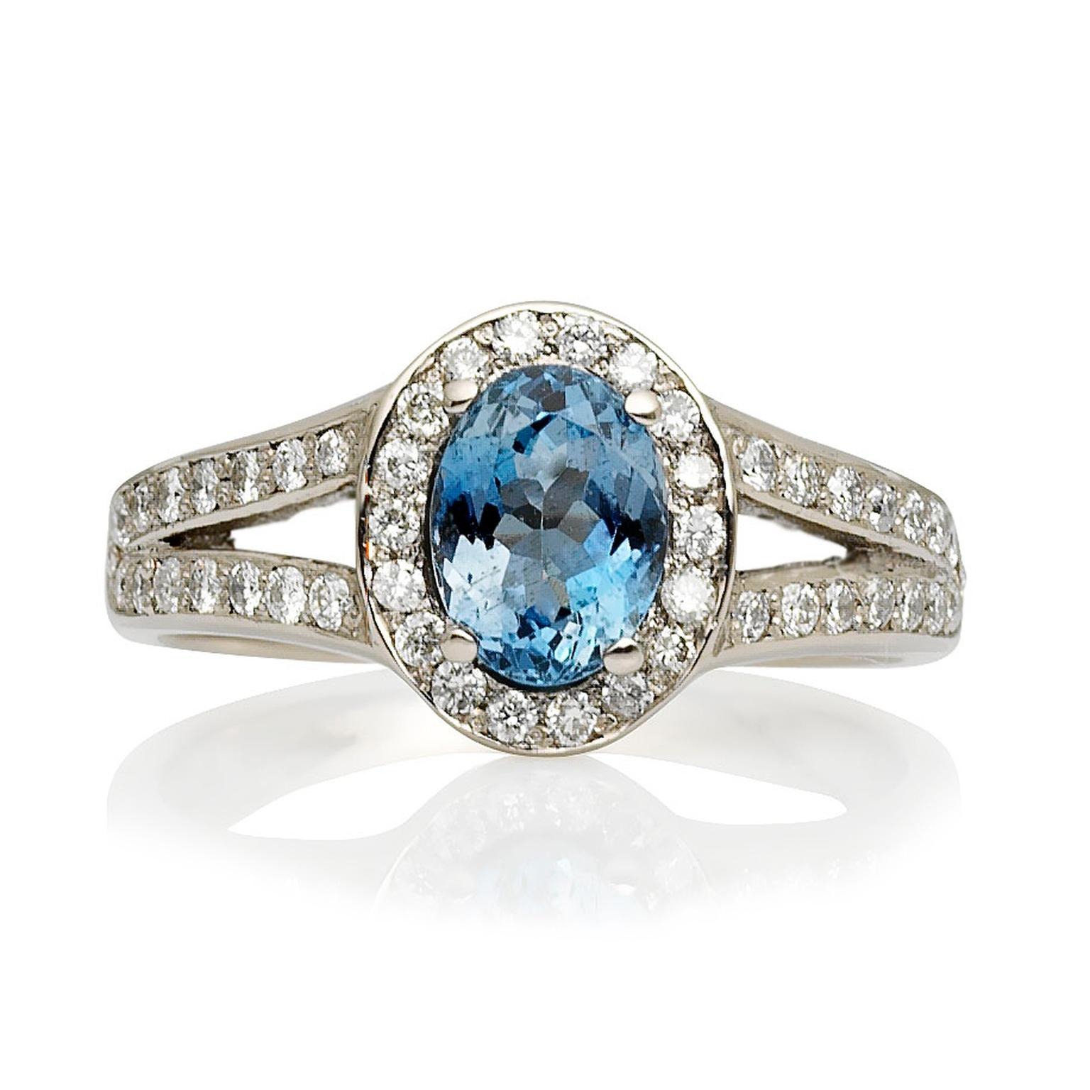 Cred Afro Cocktail aquamarine engagement ring with diamonds