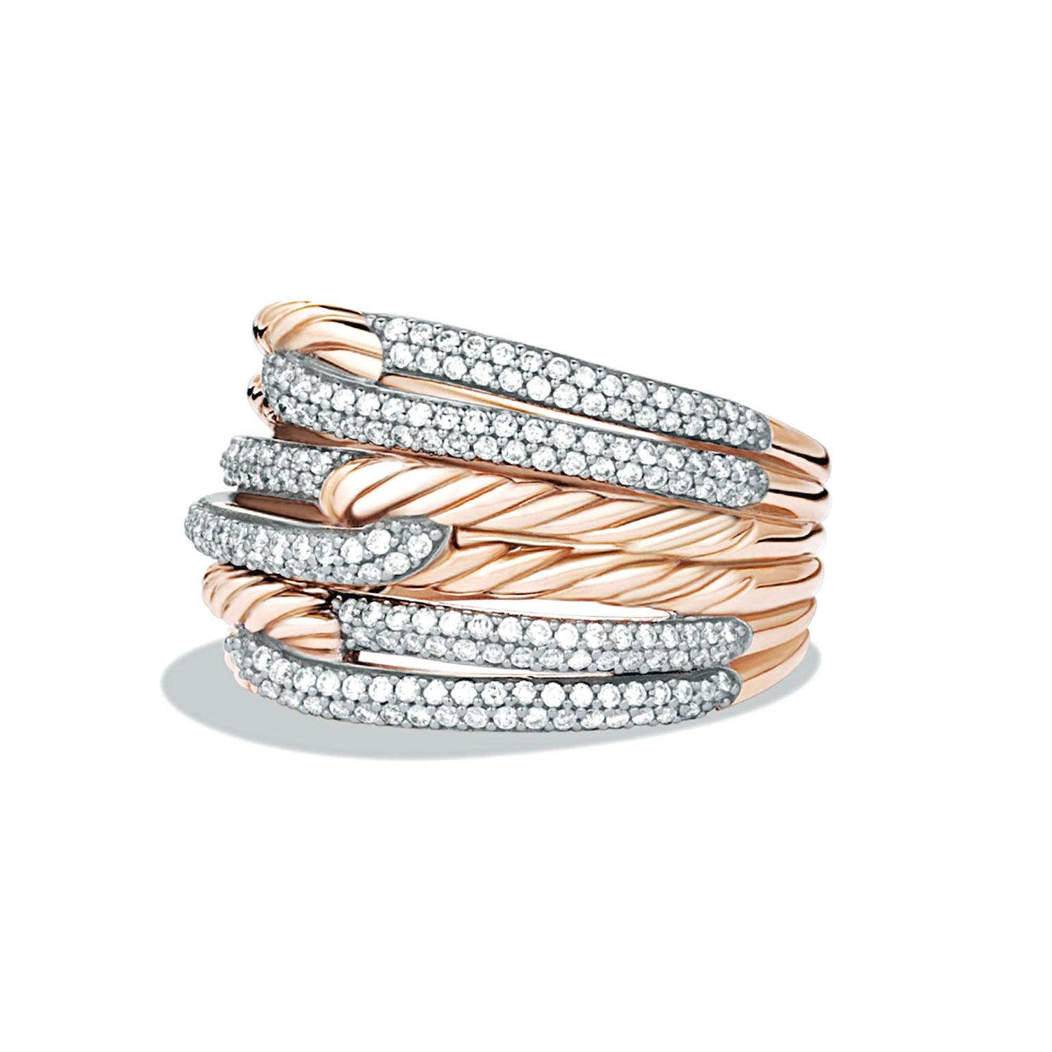 David Yurman triple loop ring in rose gold with diamonds