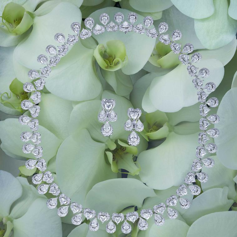 Chopard Green Carpet diamond necklace and earrings made with Fairmined gold and ethically sourced diamonds