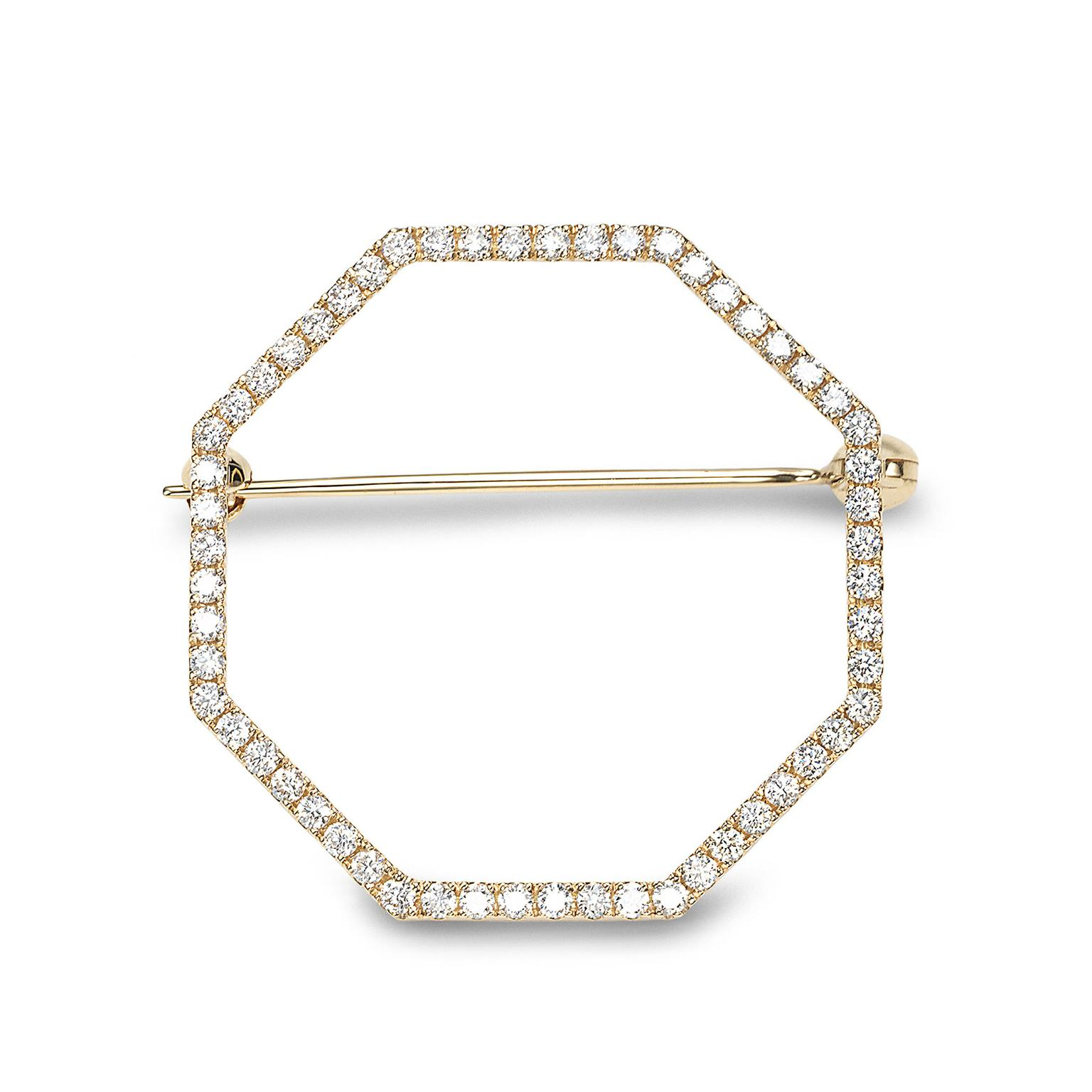 Octium Sun collection yellow gold Octagon diamond brooch