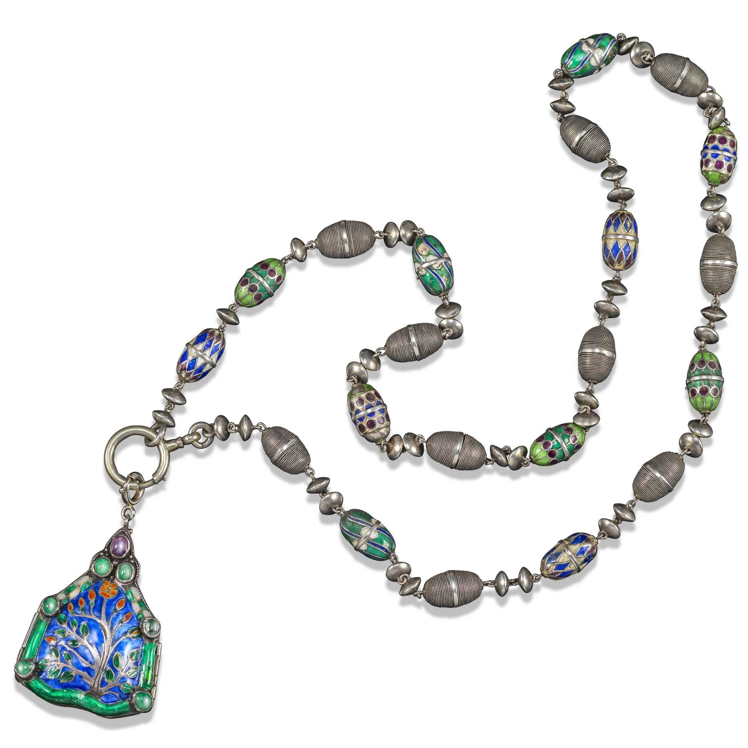 Lot 209 A silver and enamel necklace and pendant attributed to Henry Wilson. Estimate £1,000 - £1,500